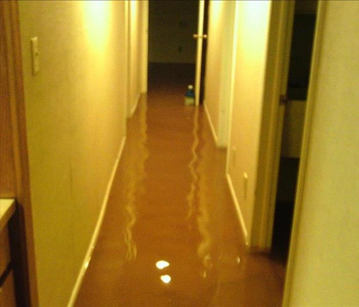 Flooded hall with standing water.